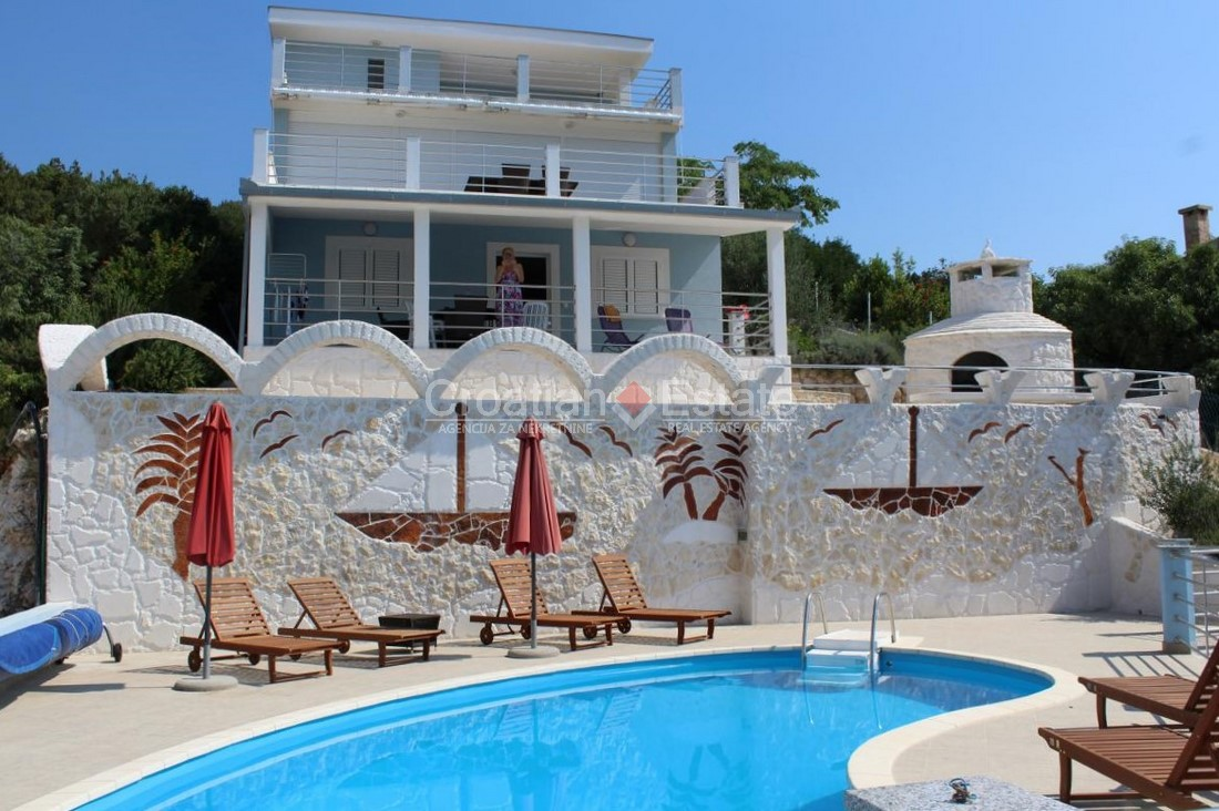 Near Trogir, luxury seafront villa with pool for sale