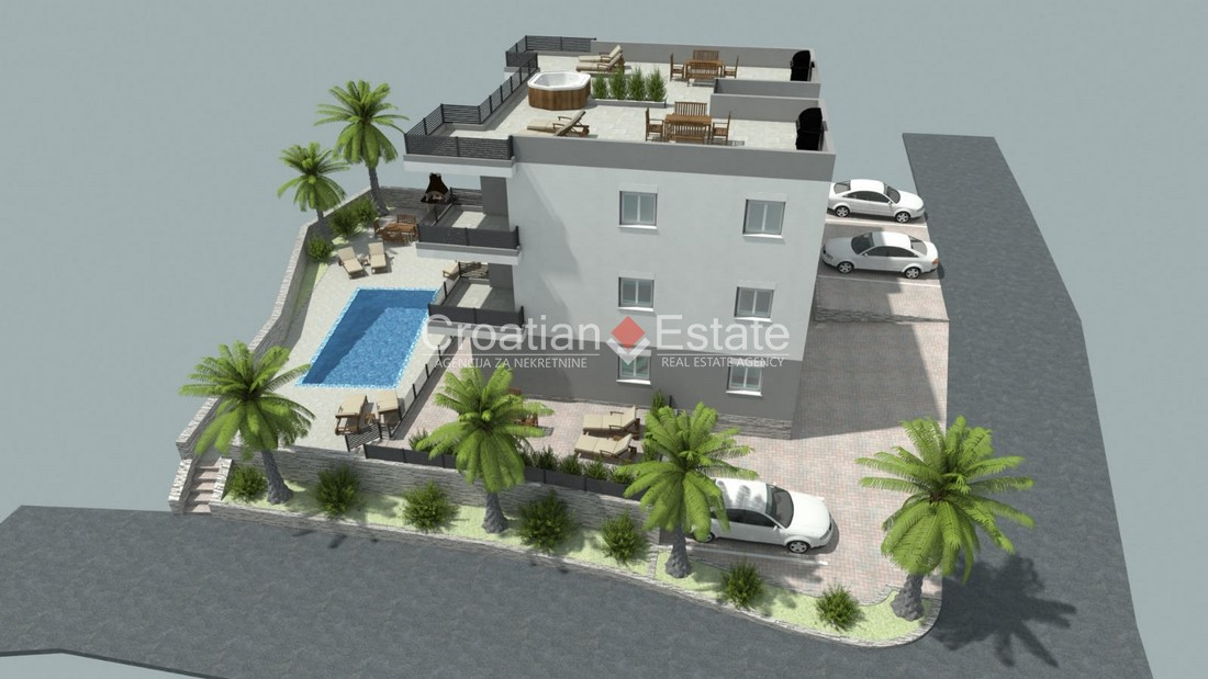 Island Čiovo – two bedroom apartment with common pool and roof terrace for sale
